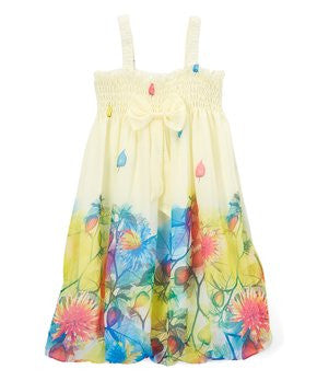 Yellow Leaves Chiffon Baby Doll Dress