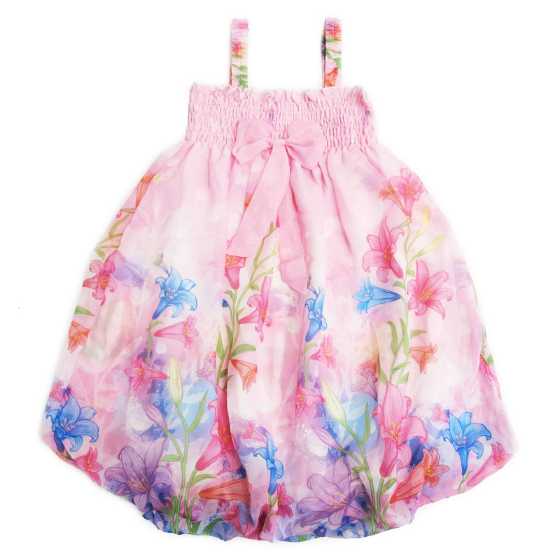 Pink Lily Floral Chiffon Baby Doll Dress