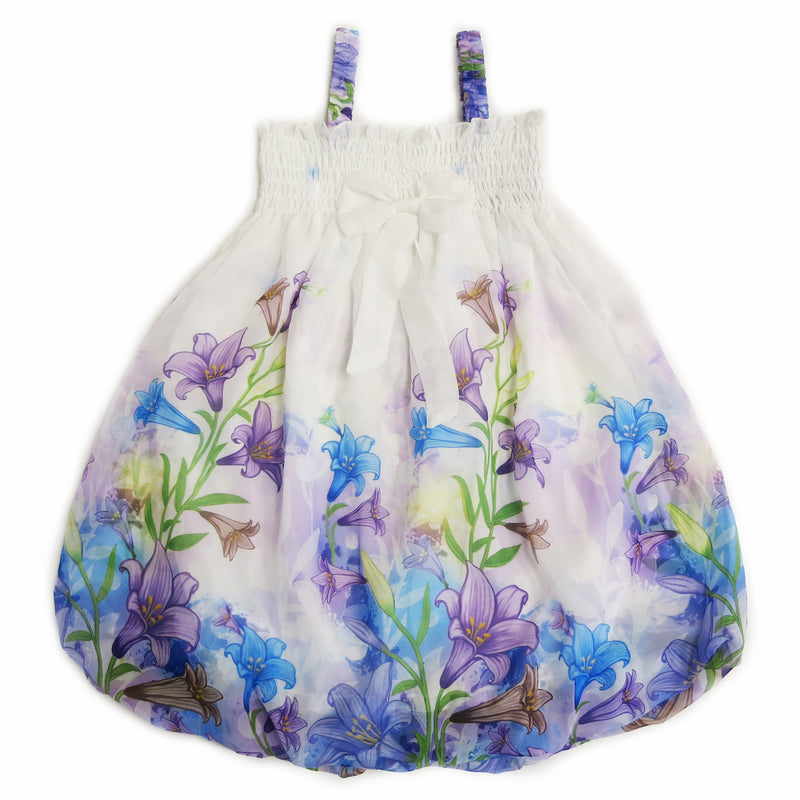 White Lily Floral Chiffon Baby Doll Dress