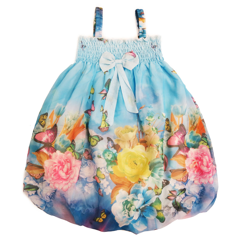 Blue Butterfly Floral Chiffon Baby Doll Dress
