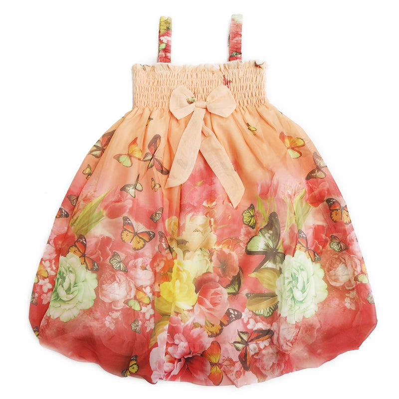 Coral Butterfly Floral Chiffon Baby Doll Dress