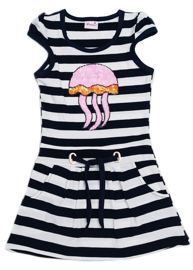 Pink Sequin Jellyfish Navy Polo Dress