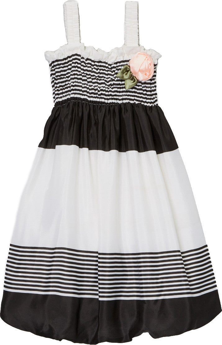 Black White Chiffon Baby Doll Dress