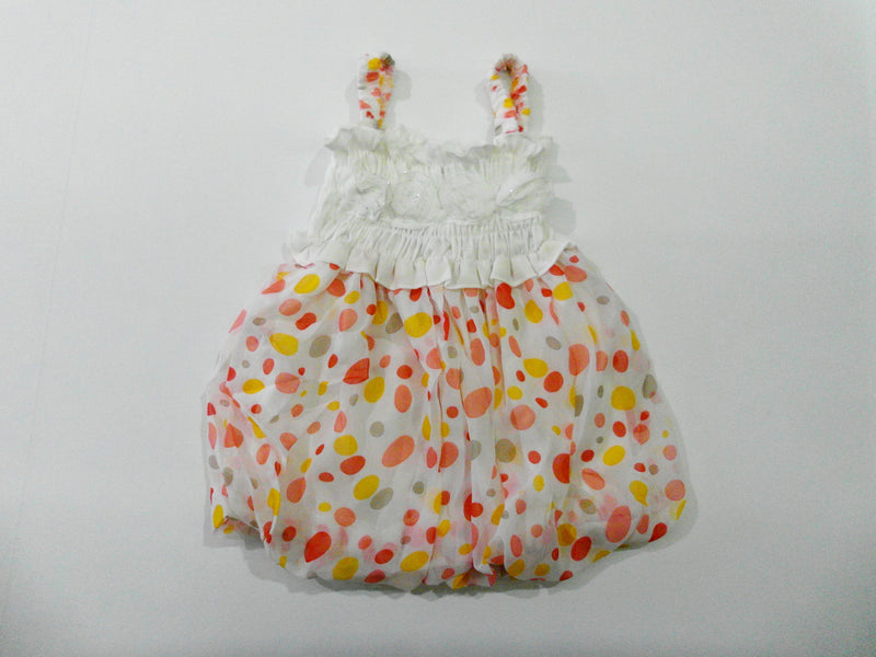 White Orange Dot Chiffon Baby Doll Dress