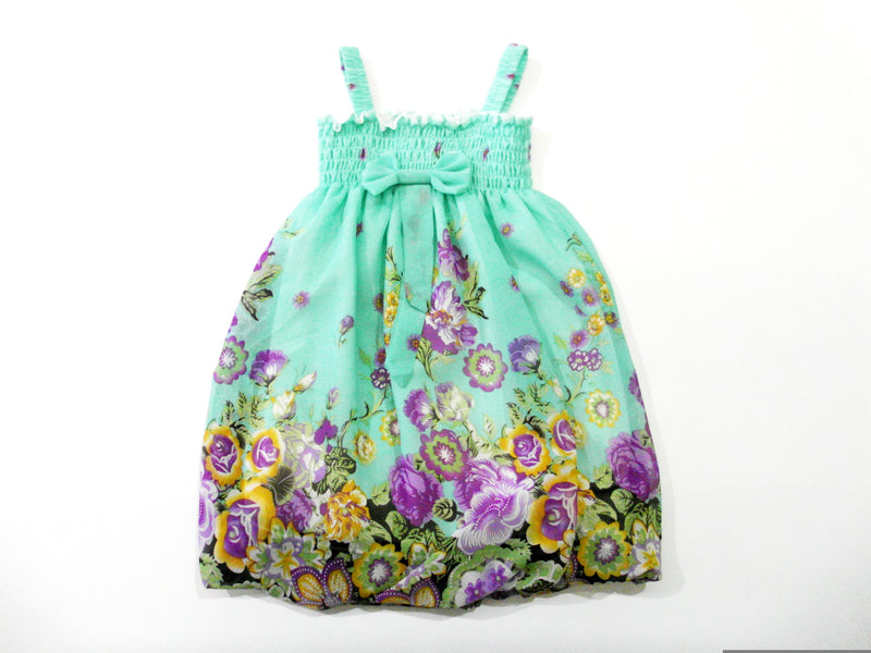 Green Flowers Chiffon Baby Doll Dress