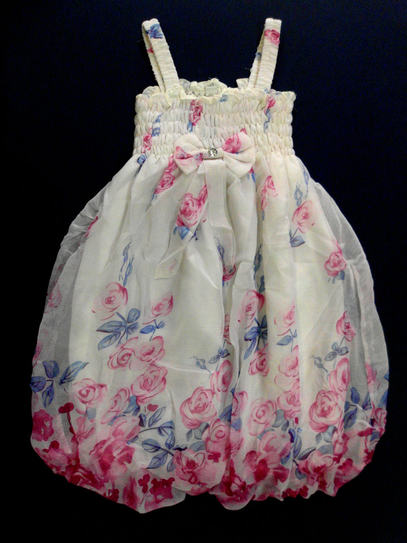 White Flowers Chiffon Baby Doll Dress
