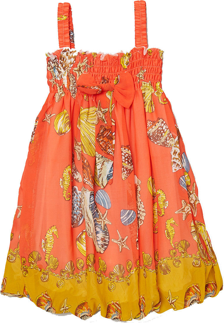Orange Shellfish Chiffon Baby Doll Dress