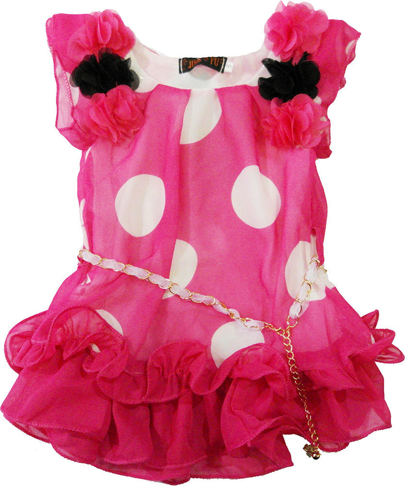 Hot Pink White Dot Chiffon Dress