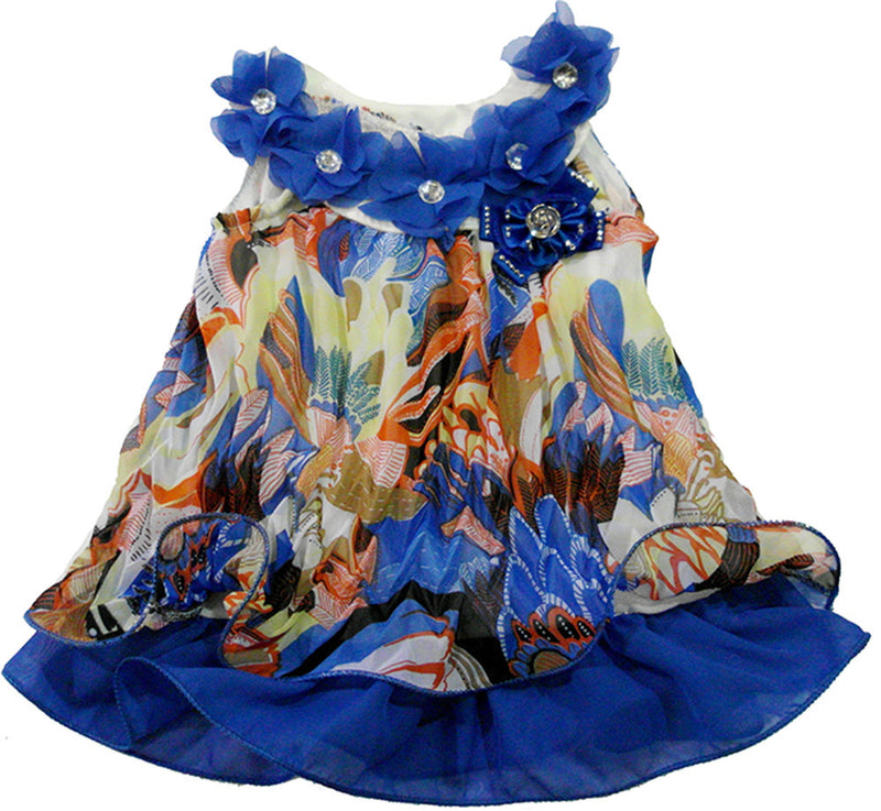Blue Colorful Crinkling Chiffon Swing