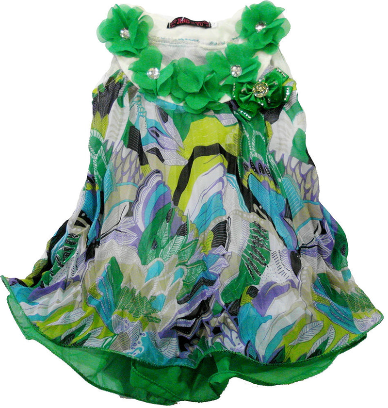 Green Colorful Crinkling Chiffon Swing
