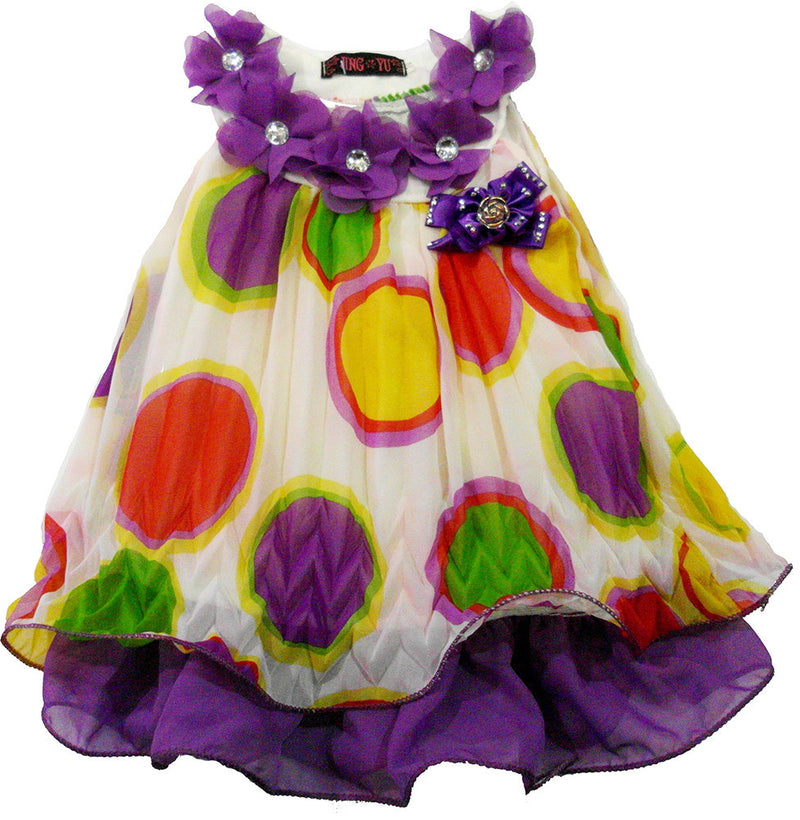 Purple Dot Crinkling Chiffon Swing