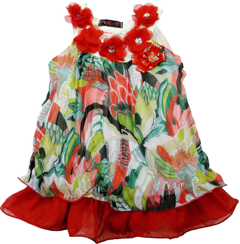 Red Colorful Crinkling Chiffon Swing