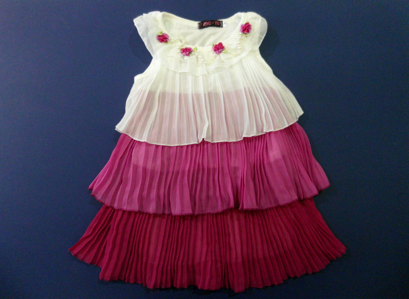 White Pink 3 Layer Crinkling Chiffon Swing