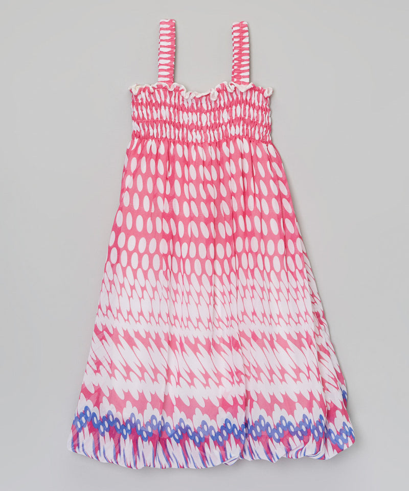 Hot Pink White Dot Chiffon Baby Doll Dress