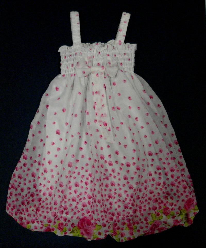 Hot Pink Floral Chiffon Baby Doll Dress