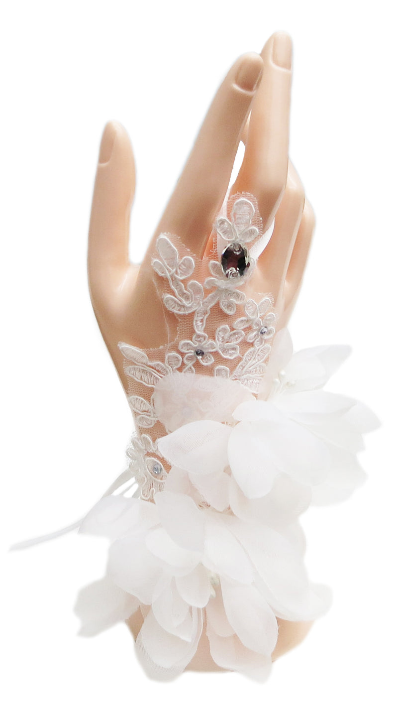 White Lace/Tulle Wrist Flower Gloves