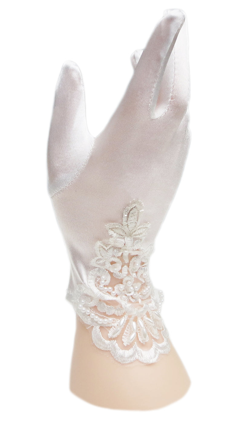 White Lace Pearl Satin Gloves