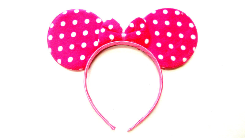 Hot Pink White Dot Ear