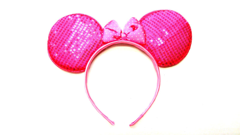 Hot Pink Sequin Dot Ear