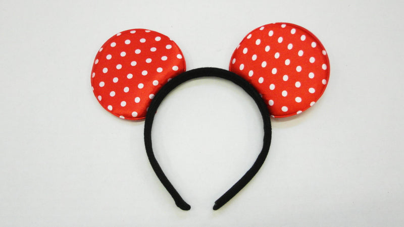 Red White Dot Satin Ear