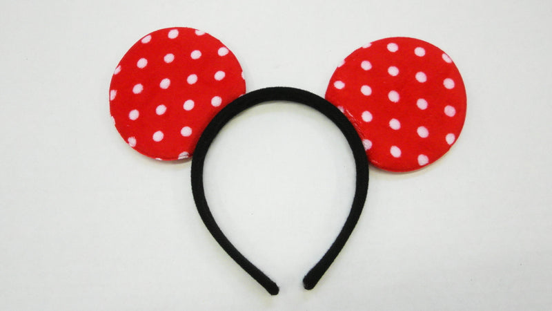 Red White Dot Velvet Ear (Pack 12pcs)