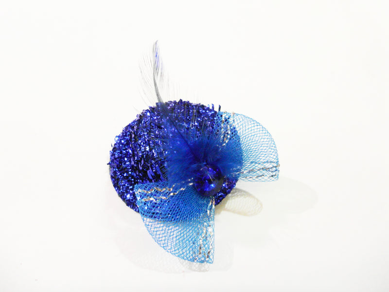 Feather Rhinestone Bow Glitter Hat