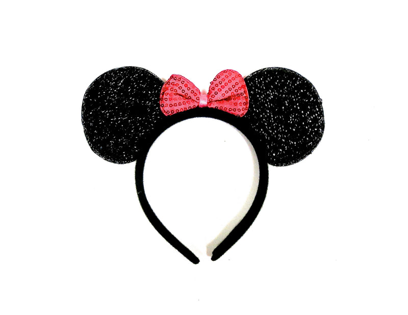 Glitter Hot Pink Bow Black  Ear
