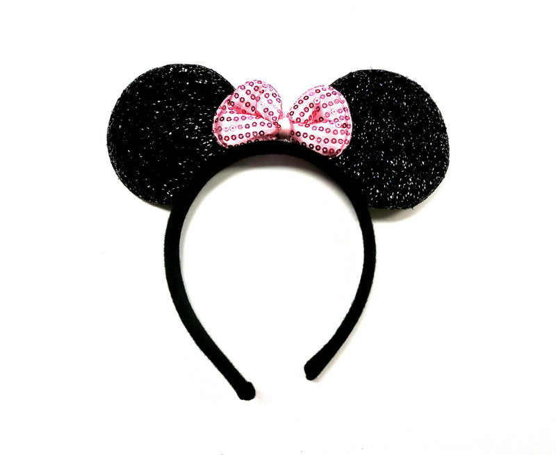 Glitter Pink Bow Black Ear