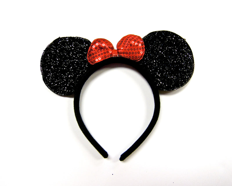 Glitter Red Bow Black Ear