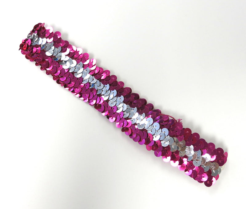 Hot Pink & Silver Triple Sequin Elastic Headband
