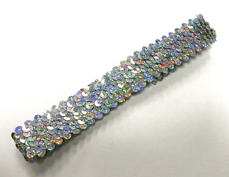 Silver Triple Sequin Elastic Headband