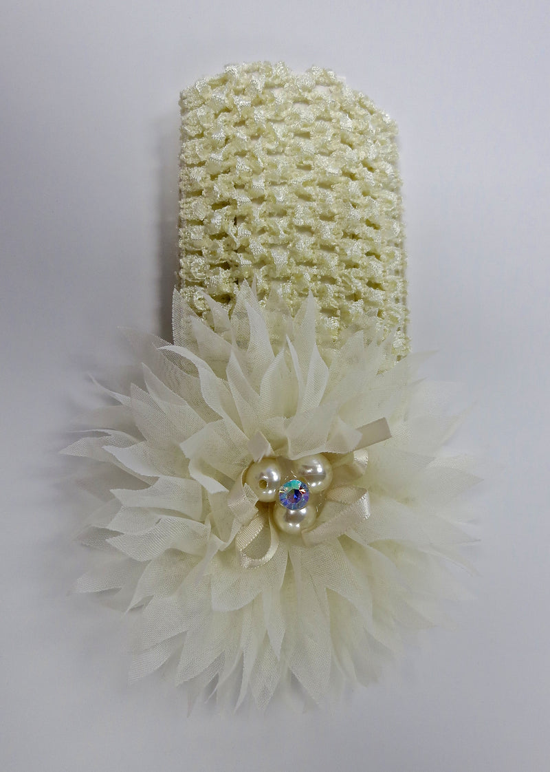 Cream Pearls Rhinestone Crochet Headband