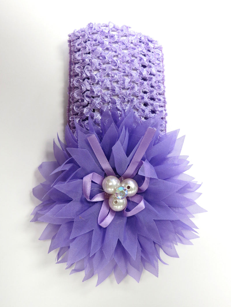 Purple Pearls Rhinestone Crochet Headband