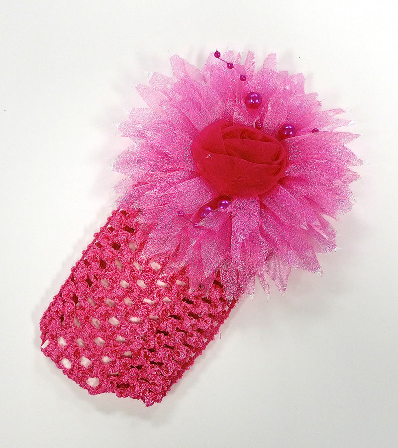 Hot Pink Rose Pearls Crochet Headband