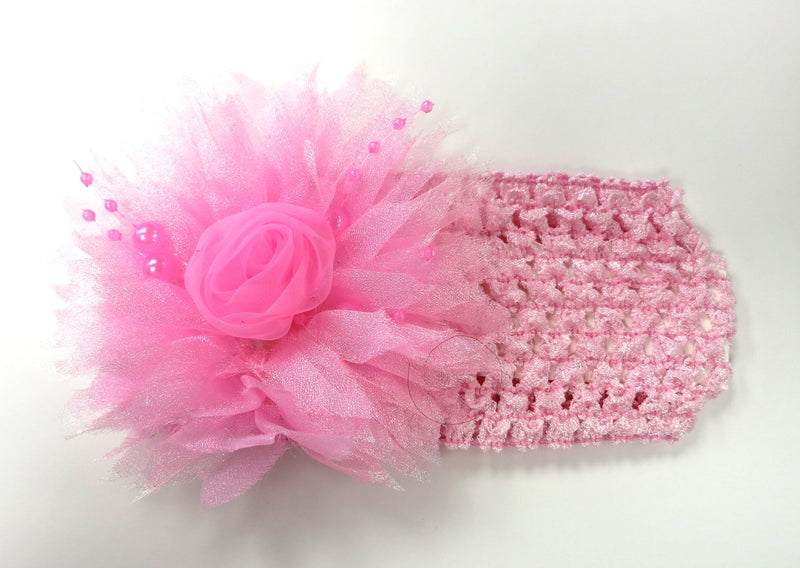 Pink Rose Pearls Crochet Headband