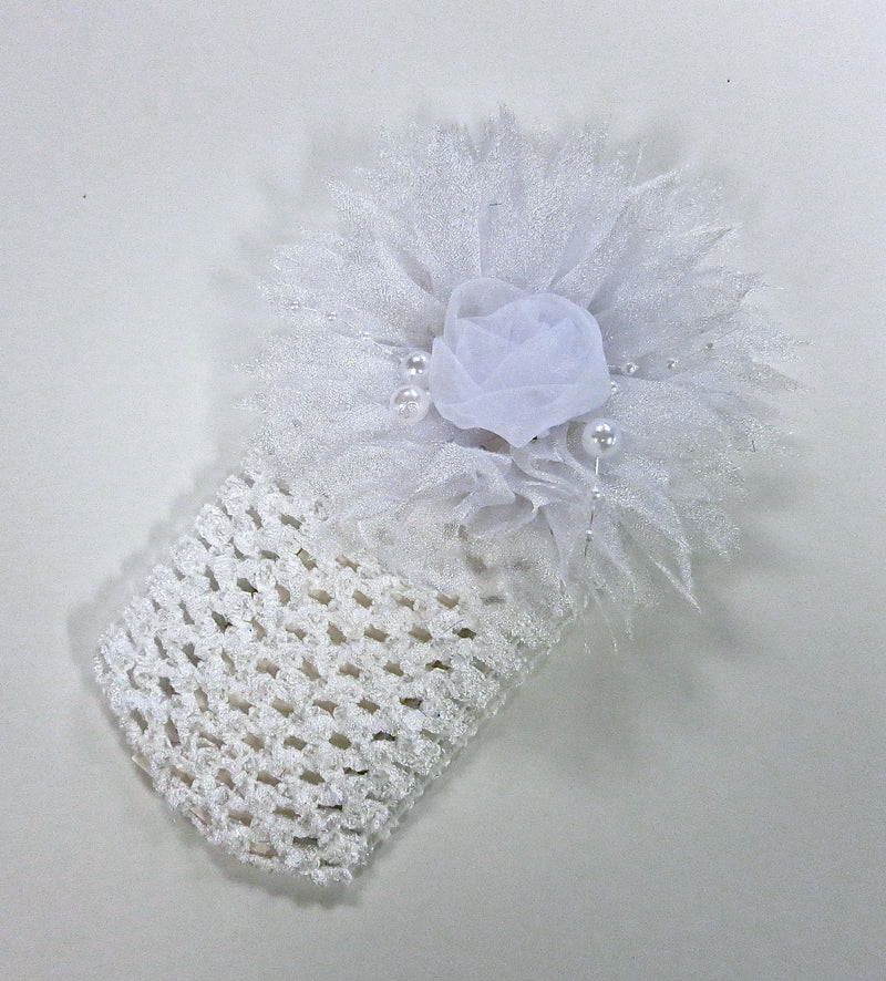 White Rose Pearls Crochet Headband