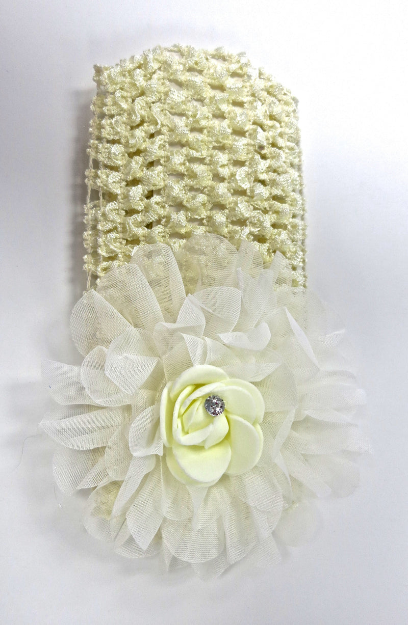 Cream Rose Rhinestone Crochet Headband