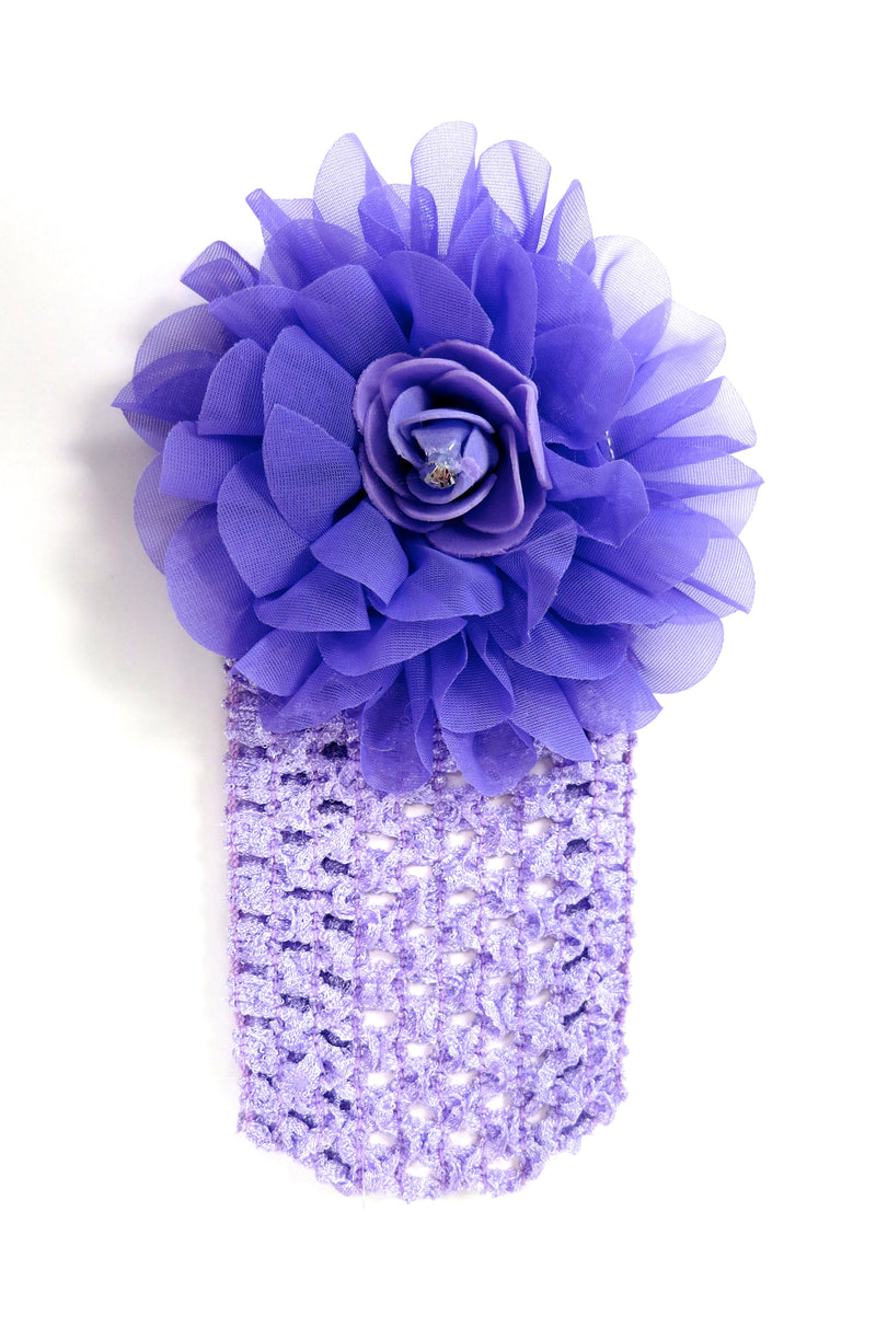 Purple Rose Rhinestone Crochet Headband