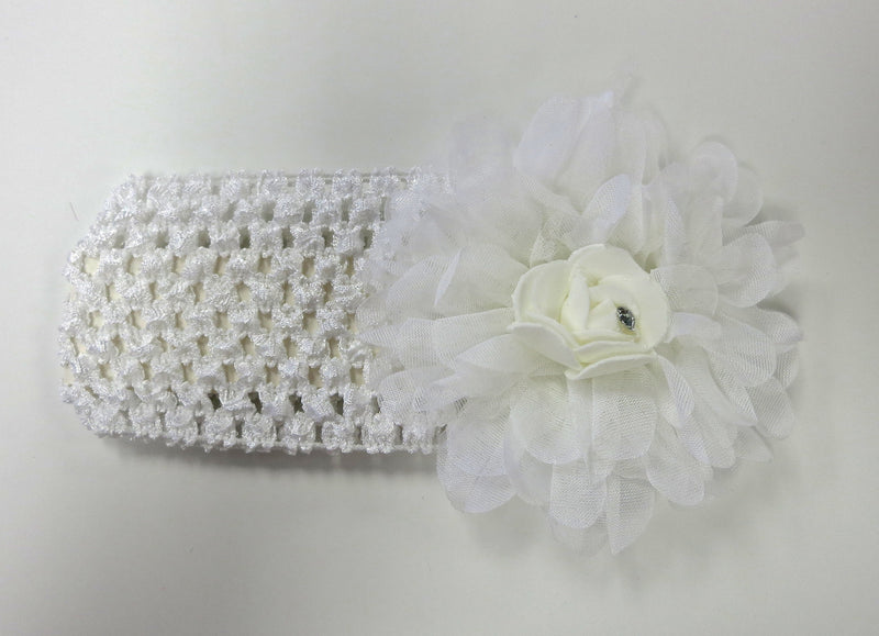 White Rose Rhinestone Crochet Headband