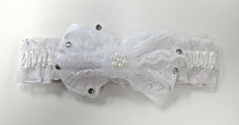 White Lace Bow Elastic Headband