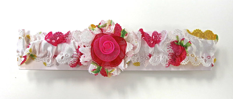 Hot Pink Foral Elastic Headband