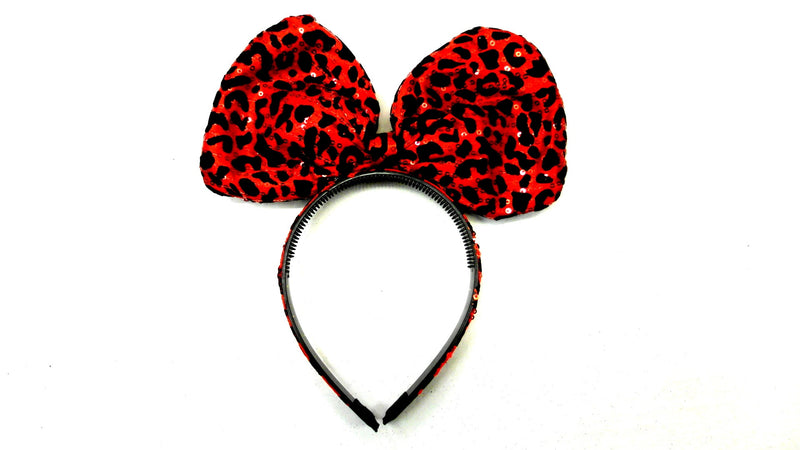 Red Leopard Printed Big Bow