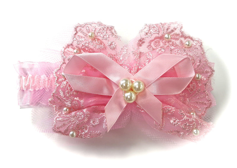 Pink Lace Bow Pearls Elastic Headband