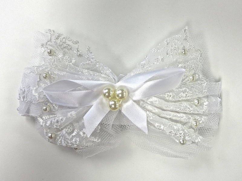 White Lace Bow Pearls Elastic Headband