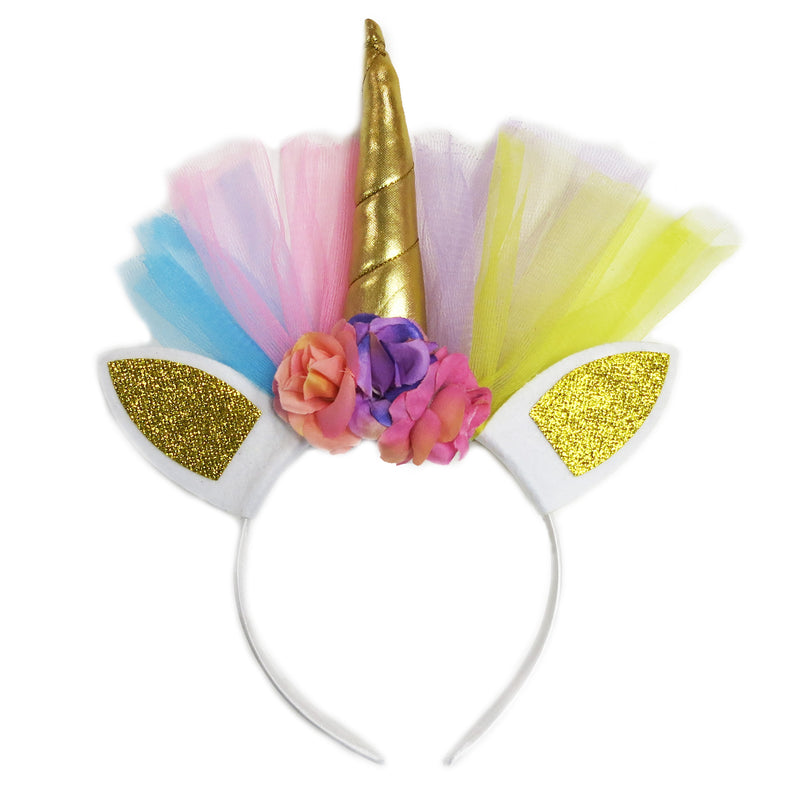 Gold Rainbow Unicorn Flower Head Band
