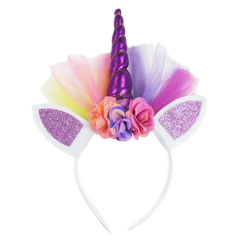 Purple Rainbow Unicorn Flower Head Band