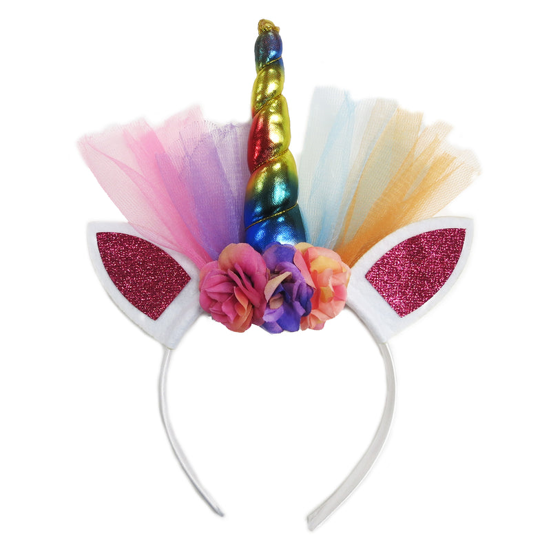 Rainbow Unicorn Flower Head Band