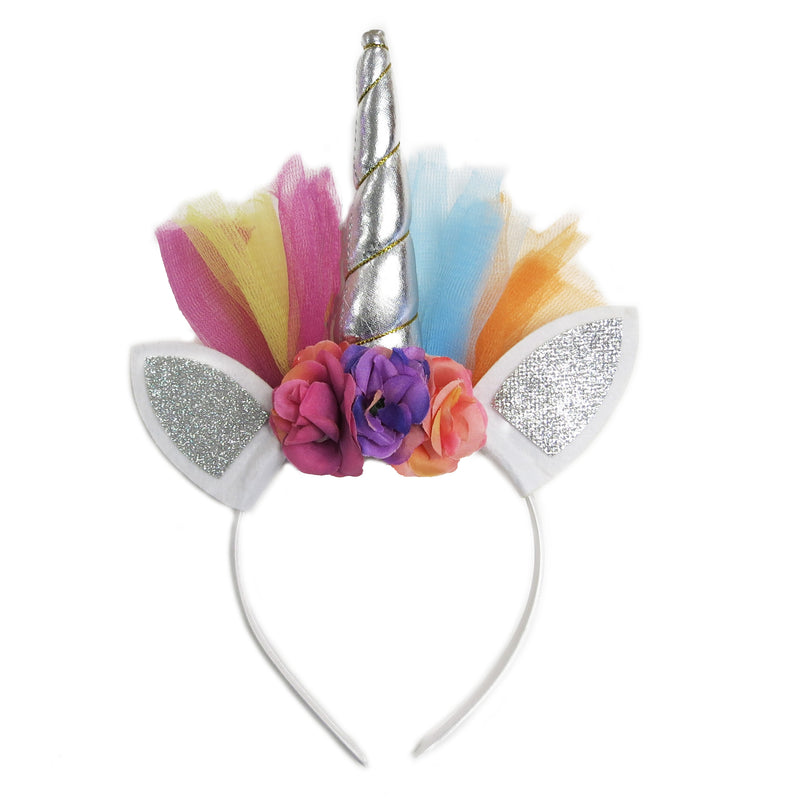 Silver Rainbow Unicorn Flower Head Band