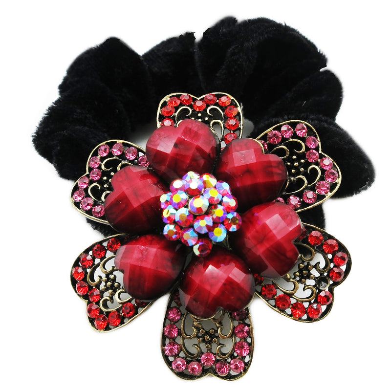 Colors Rhinestone Flower10 Donut Hairband