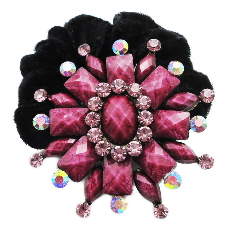 Colors Rhinestone Flower16 Donut Hairband